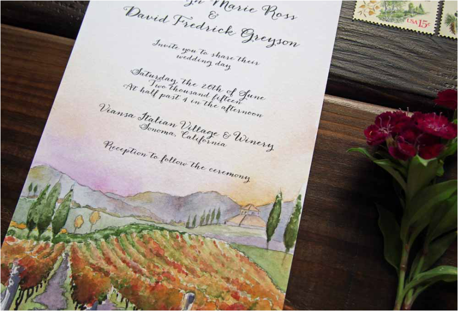 using warm rich tones of golds burgundies and greens we created these custom wedding invitations for madelyn and davids viansa winery vineyard wedding - Winery Wedding Invitations