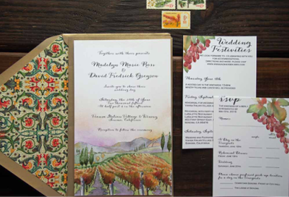 Using Warm, Rich Tones Of Golds, Burgundies And Greens, We Created These  Custom Wedding Invitations For Madelyn And Davidu0027s Viansa Winery Vineyard  Wedding.