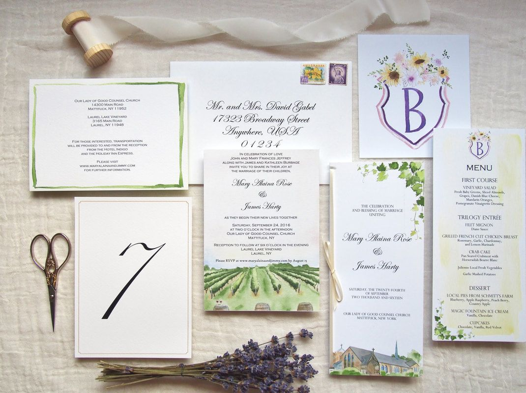 Custom Watercolor Wedding Stationery
