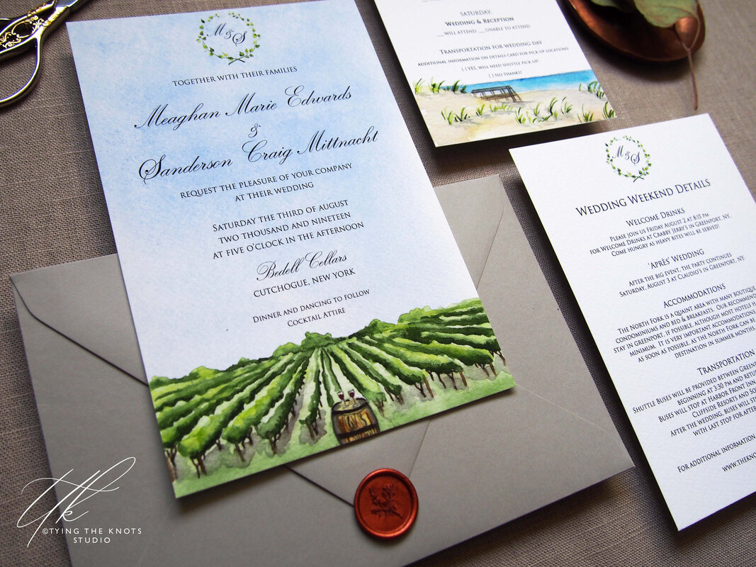 Bedell Cellars Wedding invitations