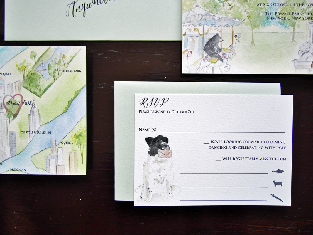 Dog on Wedding invitation