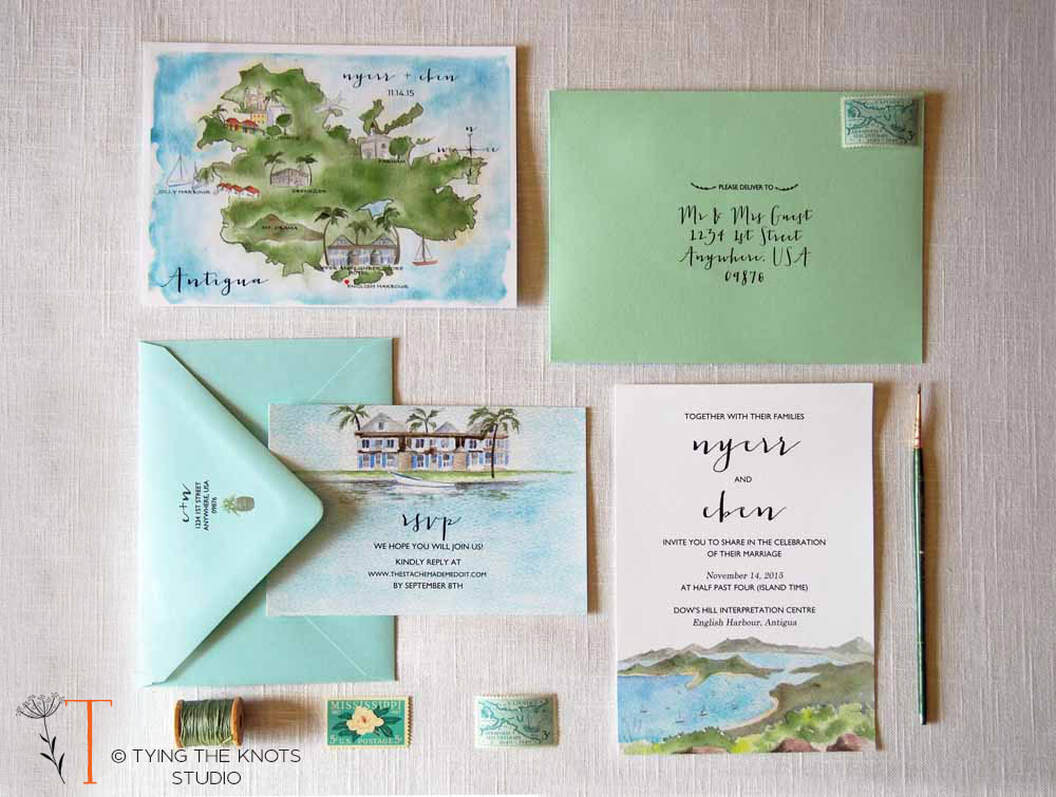 English Harbour Watercolor Invitations